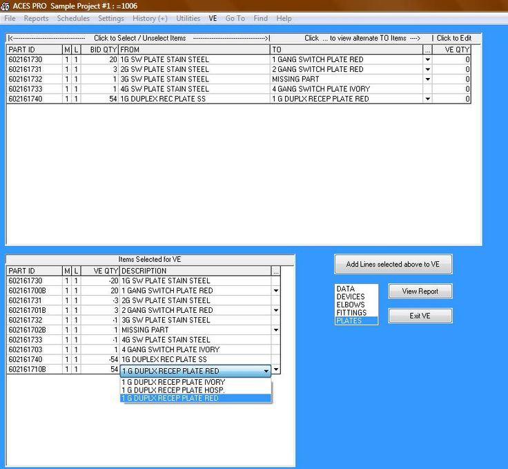 Electrical Estimating Software - ACESESTIMATING.COM - Value engineering standard material