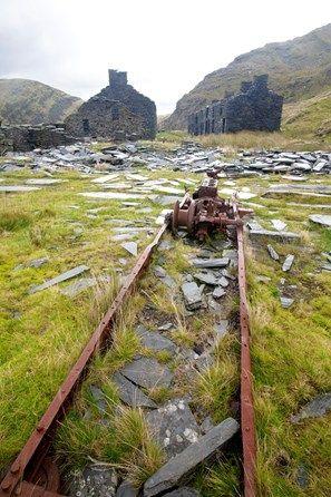 The remains of the abandoned Rhosydd Slate Mine high above Llyn Cwmorthin mine and Blaenau Ffestiniog in Snowdonia National Park.