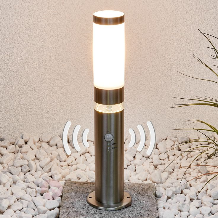 Roestvrij stalen sokkellamp Binka met sensor veilig & makkelijk online bestellen op lampen24.nl