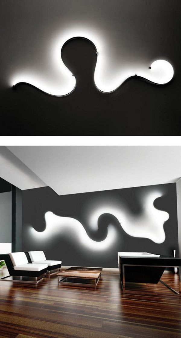 Abstract wall lamp. For those who don't want to settle for simple lamps, you can install wall lamps that are designed like a smoke emitting soft light to illuminate the room.
