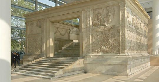 """The Ara Pacis-""""Altar of Peace"""" is an altar to Peace, one of the  Roman goddesses. It was commissioned by the Roman Senate in13 BC to honor the return of Caesar Augustus to Rome after a three year conquest in Hispania and Gaul."""