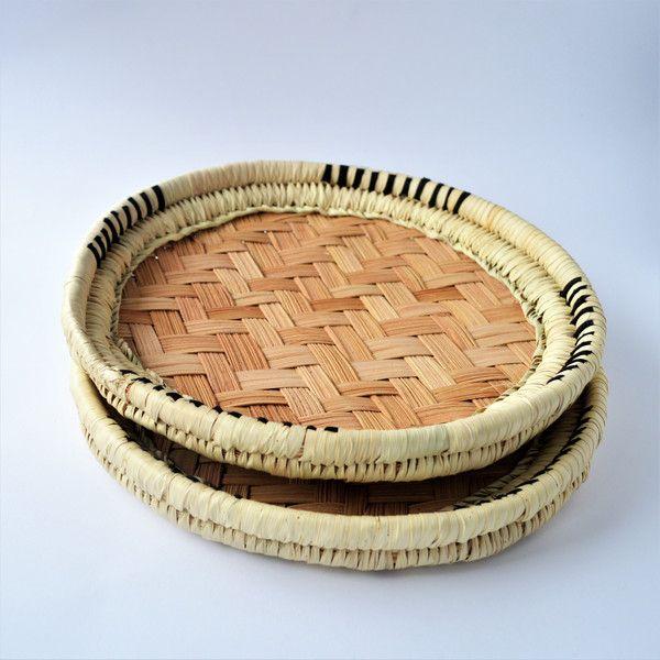Plates – Palm woven tray, wicker bread, straw – a unique product by Omar-Handmade on DaWanda