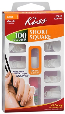 "Kiss glue-on nails ""short square"" is all I wear.  Typically $5-6 and lasts about a week.  Beats the salon. :)"