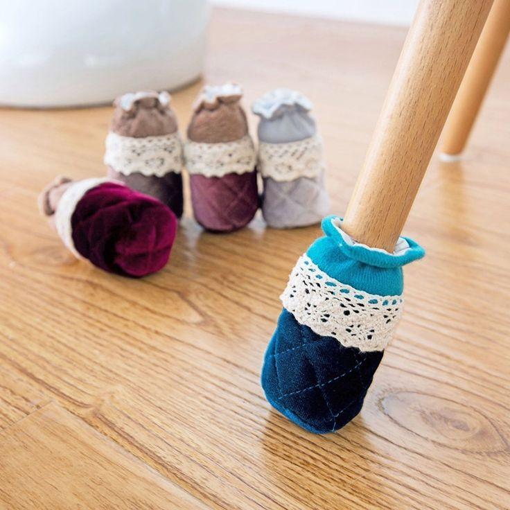 4 Pcs/Set Kreatif Lucu Kain Bulat Meja Kursi Leg Protector Sofa Furniture Kaki Kaki Kaus Kaki Tikar Non-selip Lengan meliputi ZHH1063