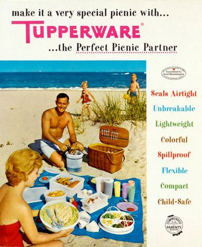 Tupperware: By the early 50's, advertisements depicting the use of Tupperware supported its explosion of increasing sales and popularity