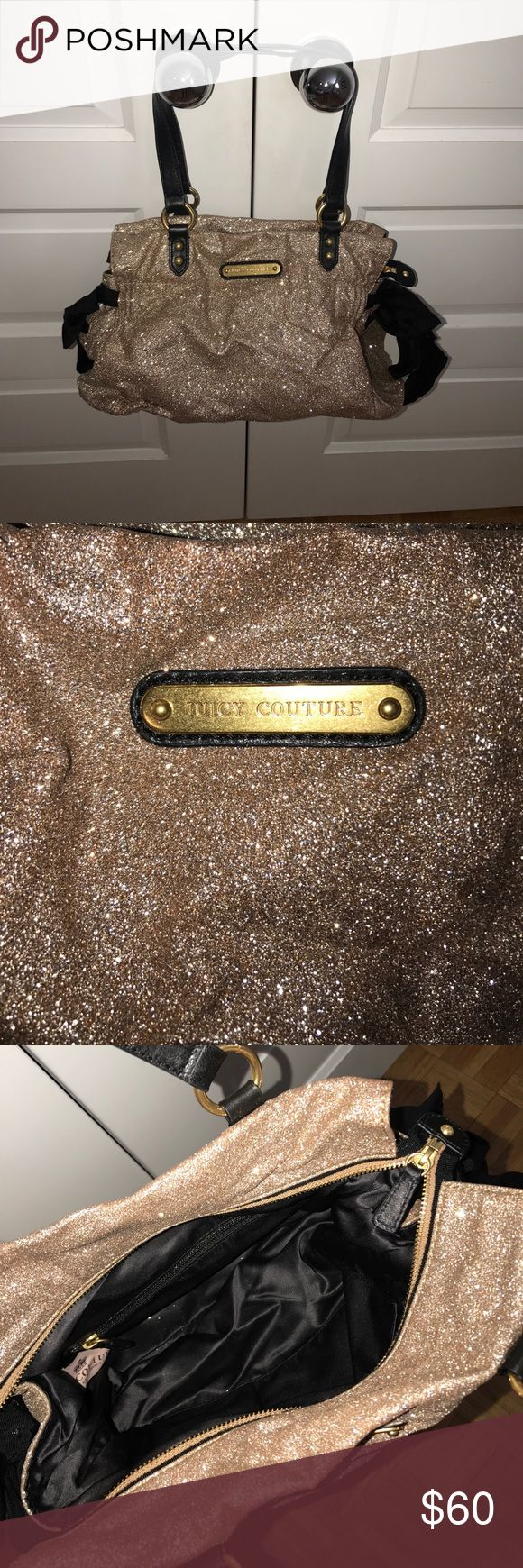 Juicy Couture Purse Gold glitter Juicy Couture purse with black bows on the side. Juicy Couture Bags