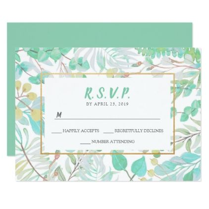 Trendy greenery  gold wedding RSVP reply card - wedding invitations diy cyo special idea personalize card