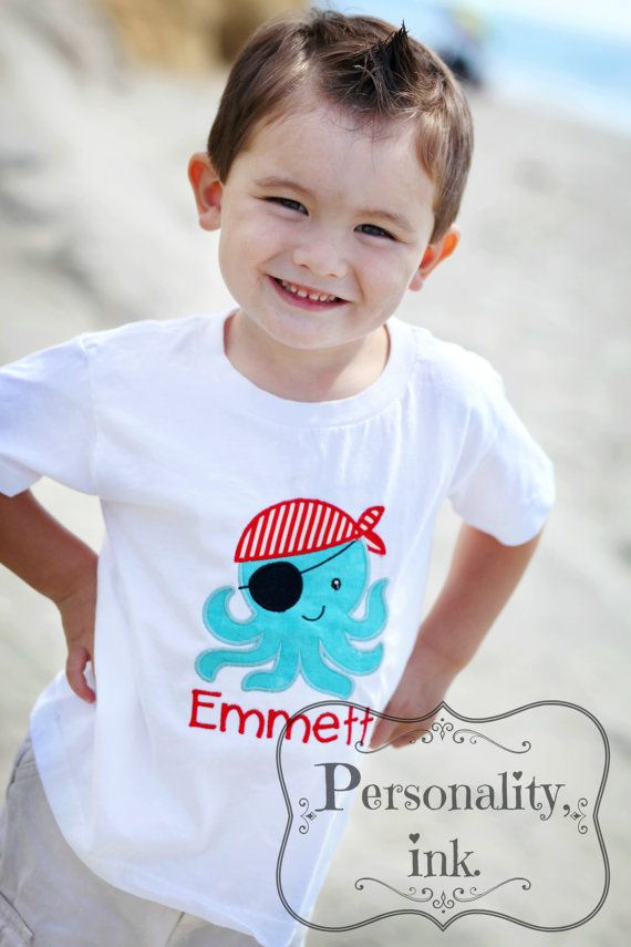 Personalized Boys Appliqued Shirt  Boys Pirate by personalityink, $22.50