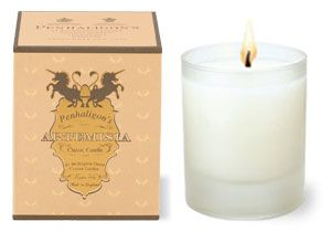 Penhaligon's: Artemisia Classic Candle - Created in 2002, Artemisia is both floral and fruity with a beautifully sensual powdery dry down. Caramel soft, sweet, powdery and silky. A tumble of green apples and nectarines washed with jasmine tea and sprinkled with a luxurious medley of violet, cyclamen and lily petals. All this softly unfolds with great subtlety surrounded with layers of honeyed vanilla, warm spices, a touch of amber and a hint of musk. Haunting and addictive.This luxurious…