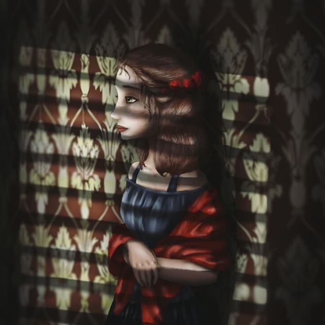 I don't know... maybe I'm just a little obsessed with windows.  #digitalart #illustration #portrait #sunlight