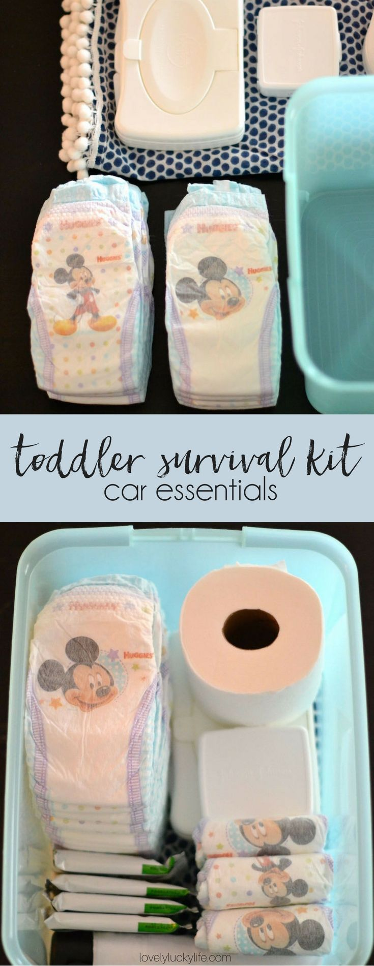 Essentials Every Mom of Toddlers NEEDS in Her Car // DIY toddler survival kit for the car - perfect for road trips or when you don't want to carry a diaper bag  #momlife #toddlers #roadtripessentials