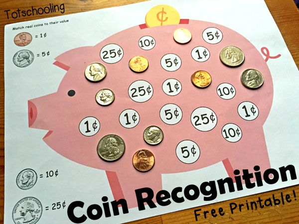 Free Piggy Bank Coin Matching activity to teach children to recognize coins and their value in cents.