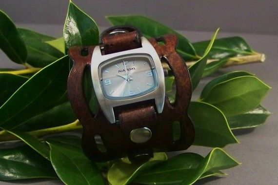 Leather Watch  Vintage Wave by 4MLeatherDesign on Etsy, $65.00