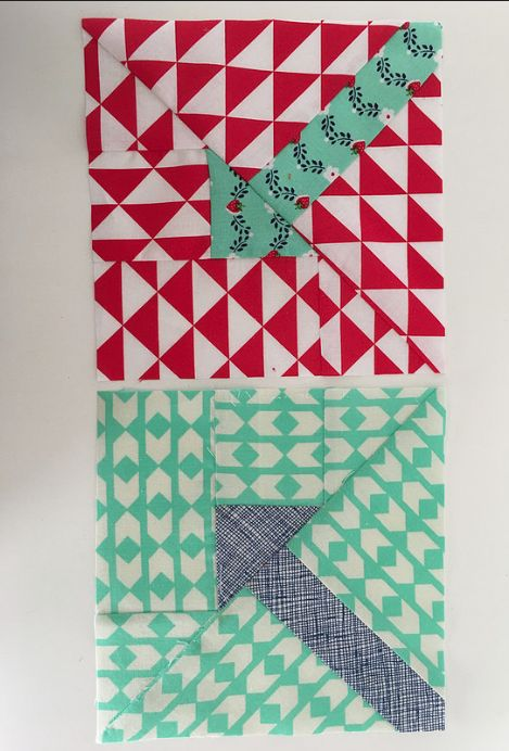 two more center arrow blocks from ZusjeB - see how the fabrics talk to the arrows :)