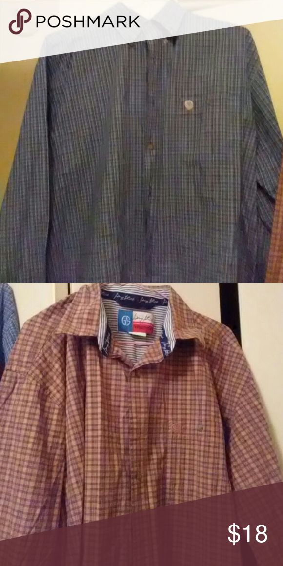 George straight wrangler shirts Blue plaid and a brown plaid both size xl Wrangler Shirts Casual Button Down Shirts