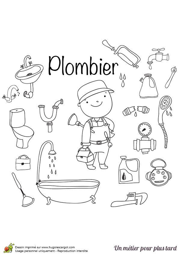 le plombier en activit imprimer et colorier coloriages m tiers pinterest. Black Bedroom Furniture Sets. Home Design Ideas