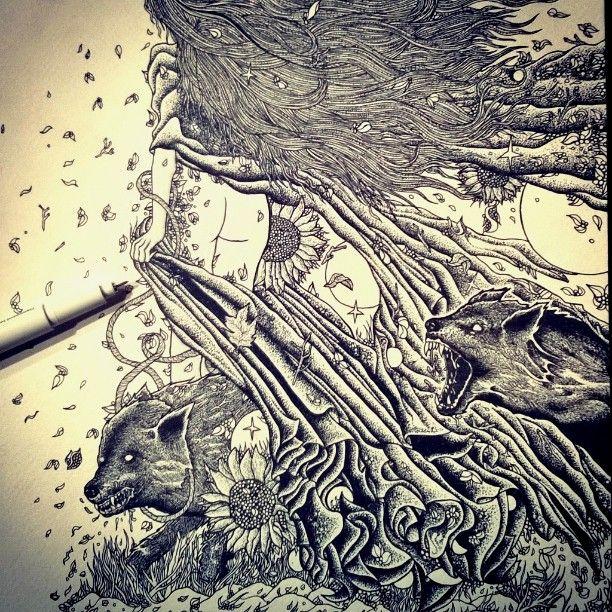 #drawing #wolves #illustration #sketchbook #penandink #blackart #blackink #shapefromhell #art_feature #sharingart #dotwork #darkart #pointilism #engraving #woodcut #blackandwhite #occult #blackdraw