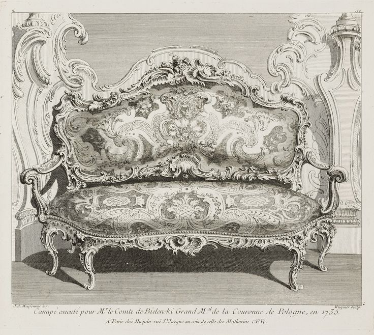 Sofa in the Bieliński Palace in Warsaw by Gabriel Huquier after Juste Aurèle Meissonnier, ca. 1745 (PD-art/old), Cooper Hewitt, Smithsonian Design Museum, Meissonnier created the sofa in 1735 for Franciszek Bieliński