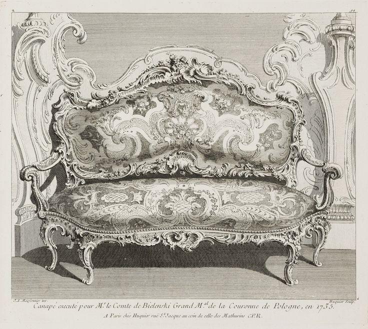 Sofa in the Bieliński Palace in Warsaw by Gabriel Huquier after Juste Aurèle Meissonnier, ca. 1745 (PD-art/old), Cooper Hewitt, Smithsonian Design Museum, Meissonnier created the sofa in 1735 for Franciszek Bieliński