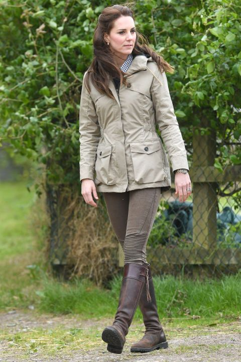 May 3, 2017 — While visiting Farms for City Children in Gloucestershire, Kate wore a khaki jacket with her trusty Penelope Chilvers boots and a pair of Zara jeans that you may recognize from her 2016 trip to India with Prince William. The $50 pair of pants are still on sale — but probably not for long.
