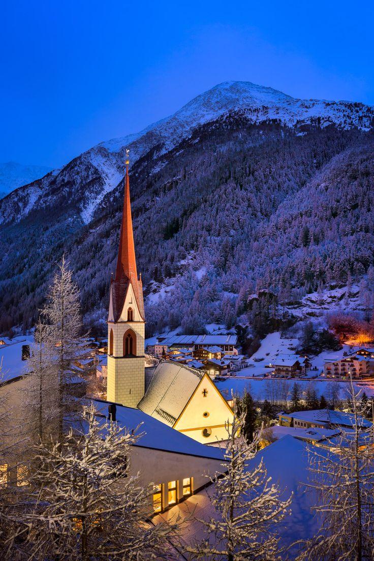 solden ski resort skyline in the morning  tirol
