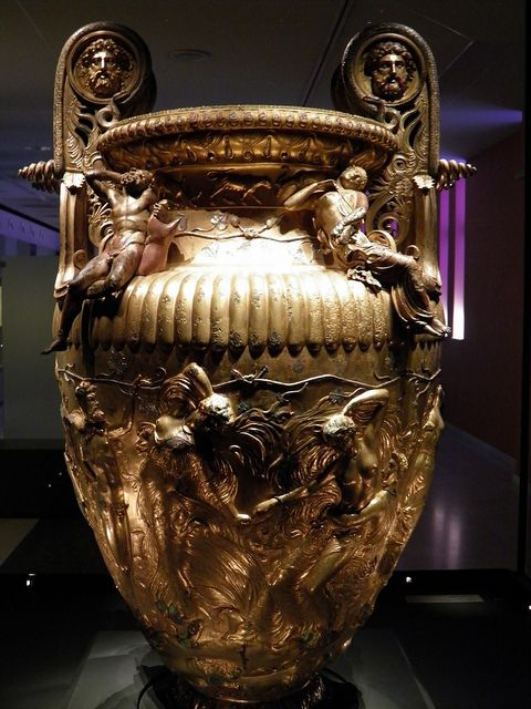The Derveni krater, late 4th century B.C., Maenads with a Silenus, Derveni krater, side B, Archaeological Museum, Thessaloniki, Greece, via Flickr.
