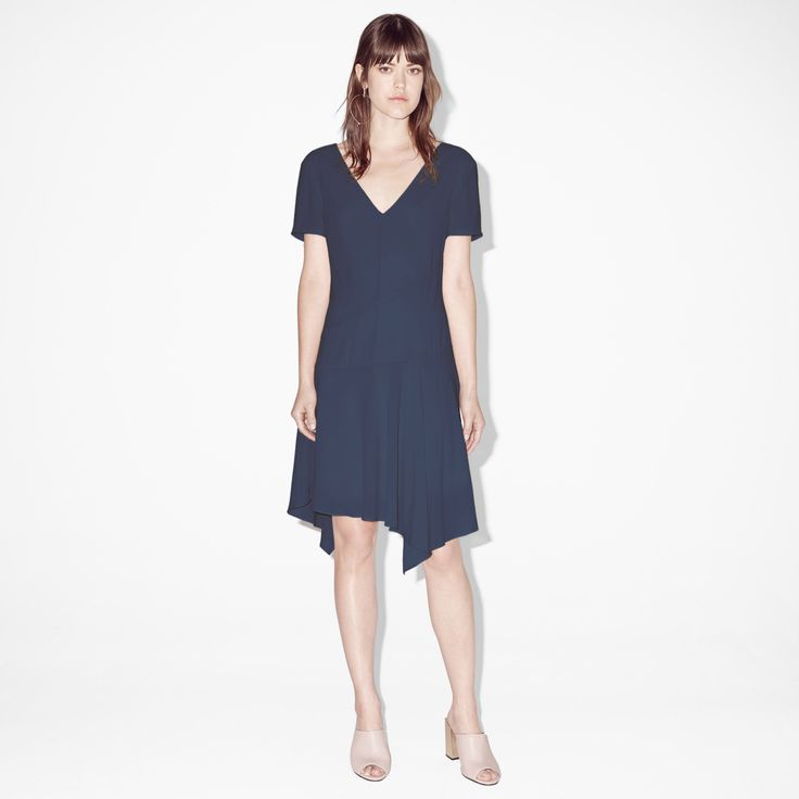 FWSS Boredom is a flowy chiffon dress with a low back neck drop, asymmetrical panels and draping details.  #flowy #chiffon #dress #blue #fwss