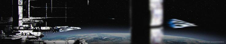 space station, Tomas Grussmann on ArtStation at https://www.artstation.com/artwork/space-station-b8e01c21-24f0-46f8-8e5a-ac698953a3d4