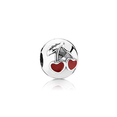 A beautiful sterling silver clip with a love cherry in red enamel - add it to your bracelet for a summery feel. #PANDORA #PANDORAcharm