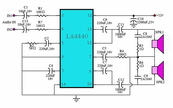 IC LA4440 power amplifier, stereo power amplifier circuit using IC LA4440 to provide an output power of 18 watts stereo. Stereo power amplifier circuit with LA4440 IC works with a voltage source + 12 volts DC with a current of 2 amperes.