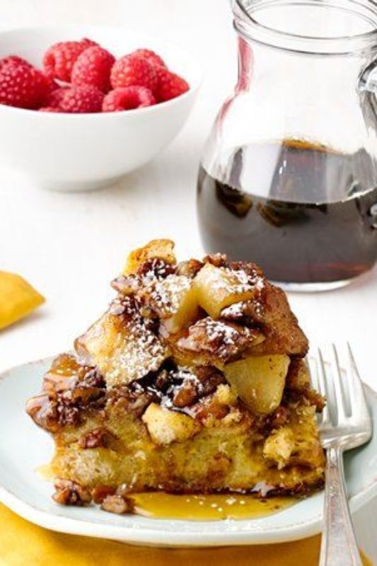 This sky-high French toast makes a wonderful sweet breakfast or brunch, and is the perfect way to use up extra French bread or challah. Brown sugar, pecans and plenty of butter will make this yummy French toast a regular at your weekend breakfast table.