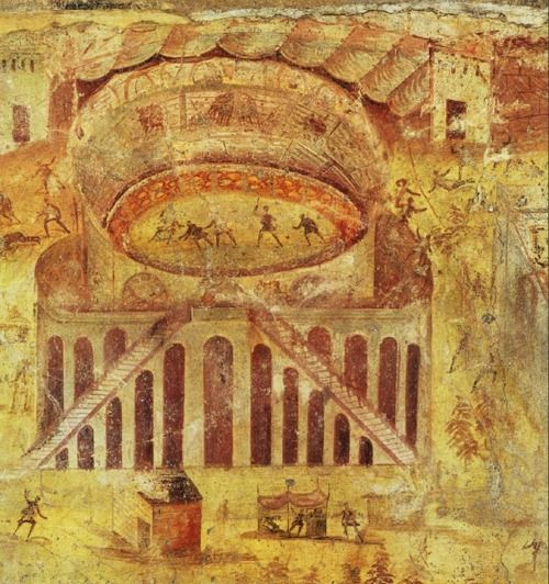 """Brawl in the Pompeii amphitheater, wall painting from House I, 3, 23, Pompeii, Italy, ca. 60-79 AD, approx. 5' 7"""" x 6'1"""", Museo Naxionale, Naples -Nucerians vs. Pompeiians riot in 59 AD"""