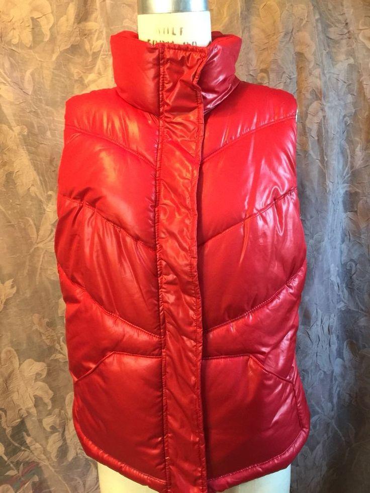VALENTINES DAY! Urban Boho RED PUFFER VEST Shiny Ski Snowboard Spring Break M   | eBay