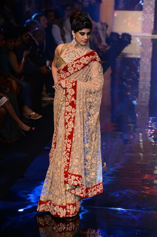 A gorgeous tulle saree with a heavy zardosi border