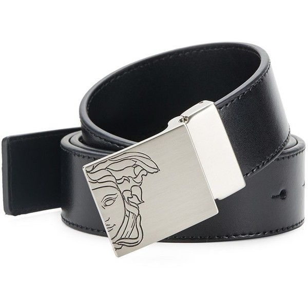 Versace Collection Logo-Accented Leather Belt ($90) ❤ liked on Polyvore featuring men's fashion, men's accessories, men's belts, mens genuine leather belts, mens leather belts, mens wide belts and versace mens belt