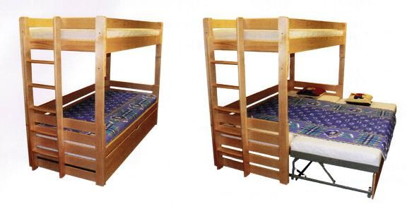 Rozkládací patrová postel Alka s celkem třemi kvalitními lůžky