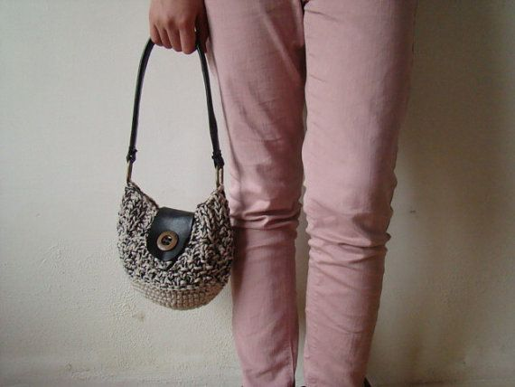 Eco women purse bag crocheted knitted leather Italian by JJePa
