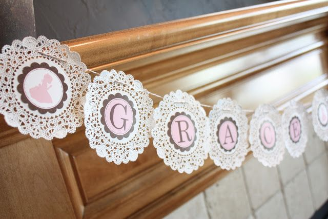 Buckets of Grace: First Communion Fireplace Banners   On doilies! Genius!
