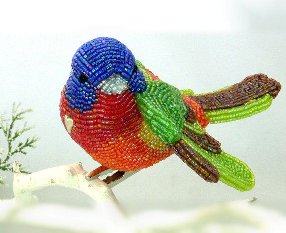 Painted Bunting Bird Ornament Beaded Clip- On Bright Rainbow Decoration * MADE TO ORDER