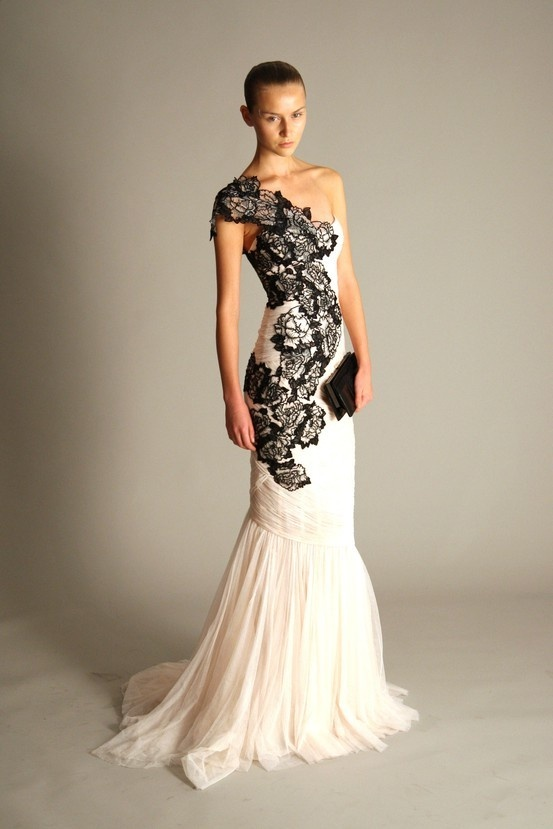 Art Like The Idea Of Ivory With Black Lace For A Wedding Dress Dresses