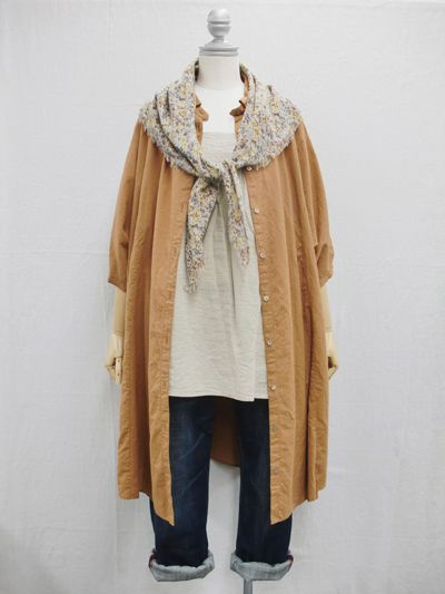 jean + light top + long tan gilet and knotted scarf