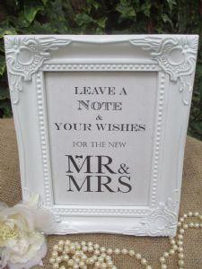 Wedding Wish Tree Sign Mr & Mrs Bow Tie & Pearls Vintage Frame