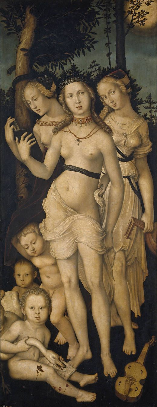 'Harmony, or The Three Graces' - Author: Baldung Grien, Hans - Procedence Royal Collection -- Allegorical representation alluding to this life's pleasures: Beauty, Music and Reading. Its complex interpretation becomes clearer when seen with its companion 'The Ages of Man and Death'