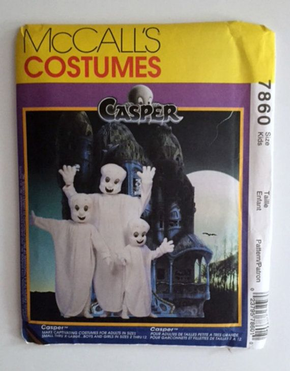Casper Ghost Halloween Costumes Sewing Pattern McCalls 7860 Kids 2-12 Adult New Uncut Vintage 1995