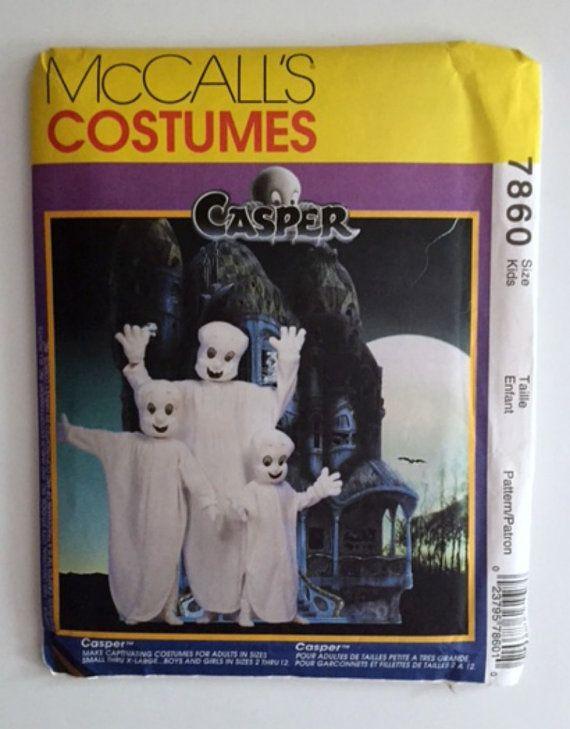 Casper Ghost Halloween Costumes Sewing Pattern McCalls 7860 Kids 2-12 Adult New Uncut Vintage 1995