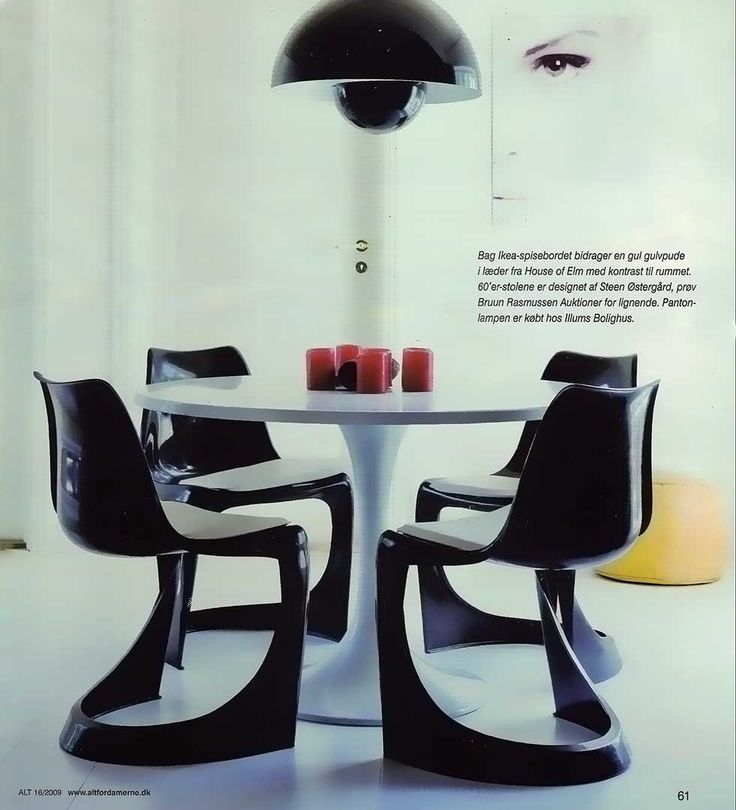 "The Danish design magazine: ""ALT for Damerne"" brought this photo of the 290 chair designed by Steen Ostergaard. The article is about combine furniture. Here it is the dining chair designed by Steen Ostergaard in 1966 and a Panton lamp mixed with an Ikea table. A nice mix and match!"
