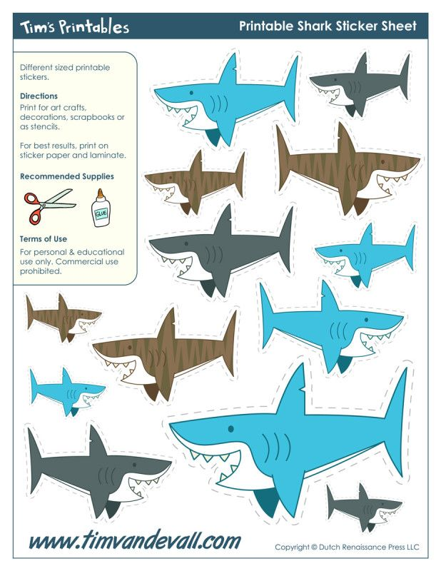 Free Printable Sharks for a Party!   Shark Week in 2019