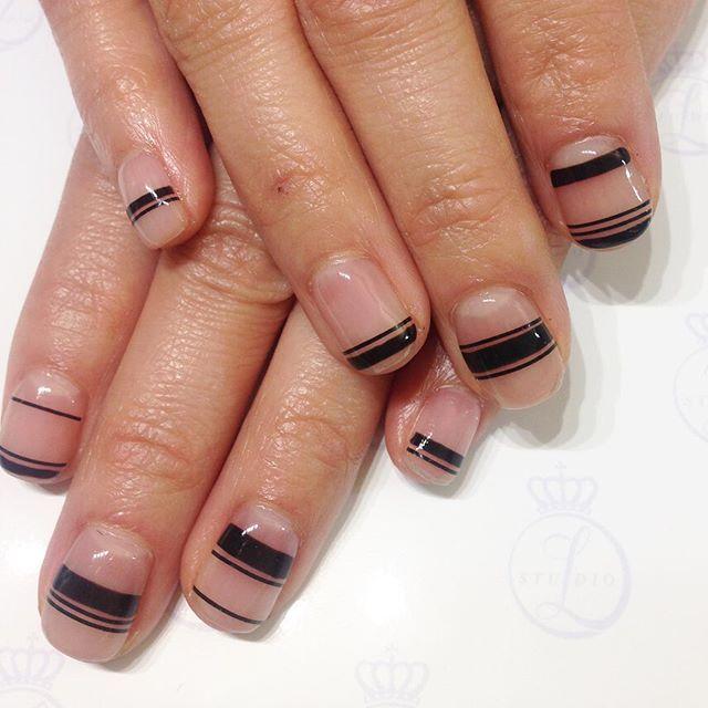 Studio L negative space black striped calgel nail art