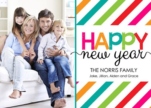 Cheery New Year with Stripes (7×5) Happy New Year Photo Card template from Focus in Pix.