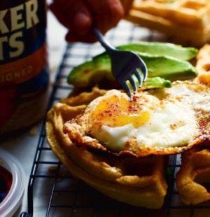 Savory Scallion Cheddar Oat Waffles - Food Heaven Made Easy